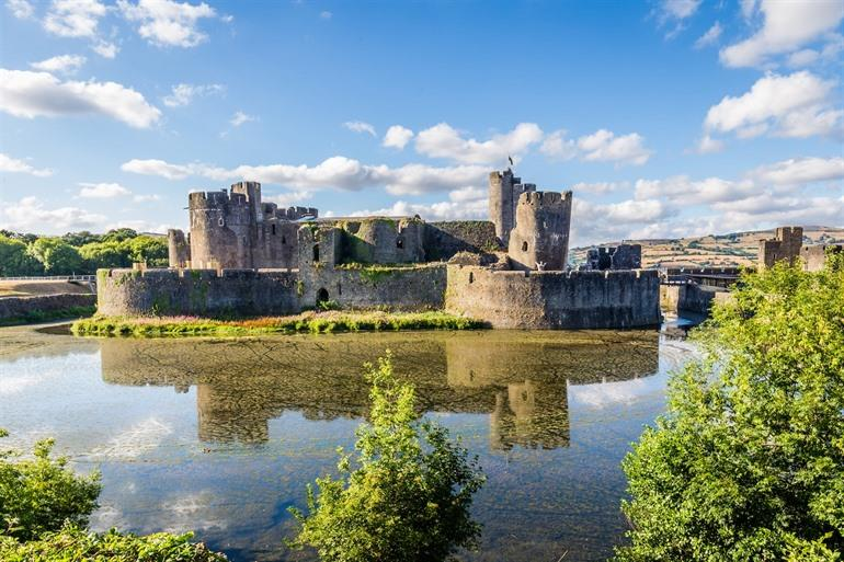 Caerphilly Castle in Cardiff, Wales